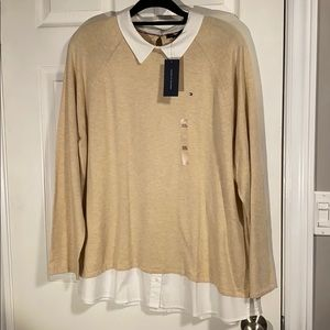 NWT XXL Tommy Hilfiger Colorblock Twofer Sweater